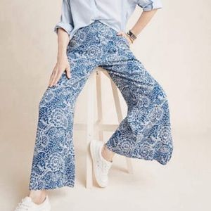 Anthro Maeve Anika Wide Leg Floral Pants large